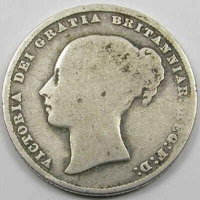 QUEEN VICTORIA YOUNG HEAD SILVER ONE SHILLING COIN dated 1859