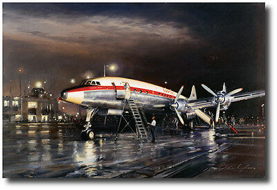 Night Departure (Artist Proof) by John Young -1049G Constellation-Aviation Art