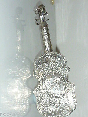 ANTIQUE DUTCH SILVER CELLO MUSICAL INSTRUMENT CHERUB PUTTI MINIATURE c1891
