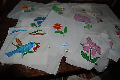 Vintage 48 hand painted quilt squares
