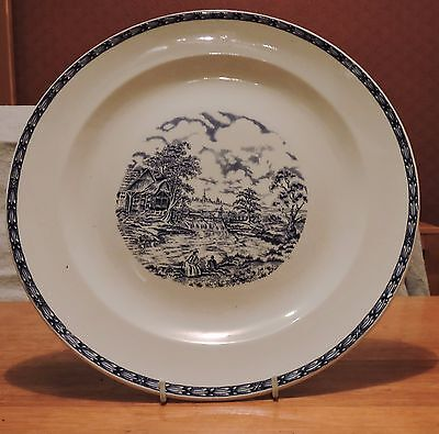 Vintage Large Blue & White Rustic England W.h.grindley Plate