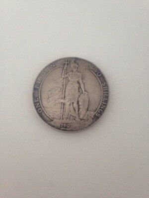 Dated 1907 Solid Silver Coin - One Florin / Two Shillings - King Edward VII