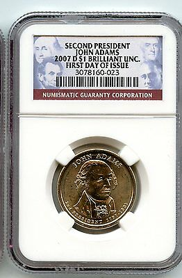 John Adams  2007 D $1~ NGC Brilliant Unc.~ First Day of Issue~ *hucky*