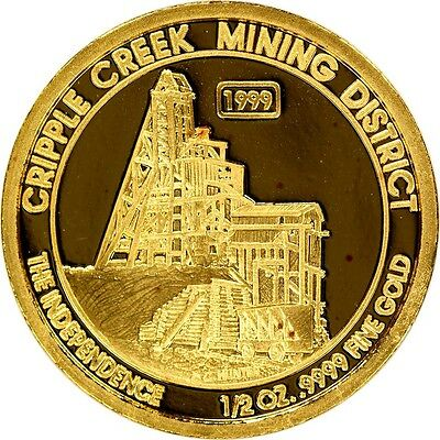 1999 Cripple Creek Mining District The Independence 1/2 oz .9999 Fine Gold