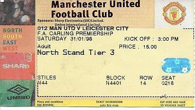 MANCHESTER UNITED v LEICESTER CITY 1997/1998 TICKET