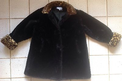 Designer Black & Leopard Print Girls  Faux Fur  Coat Aged  9-10 Years
