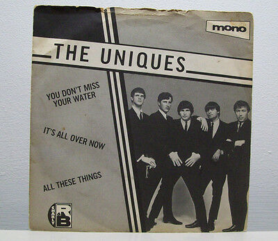 "THE UNIQUES - it's all over now 7"" garage '60s BLUES charly R&B picture sleeve"