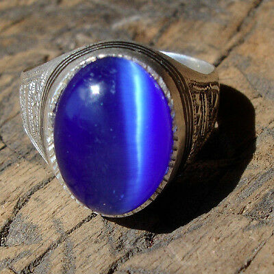 Men's silver blue agate Niger Tuareg hand engraved ring UKR1/2   US 8.75