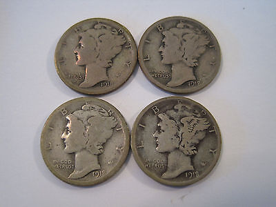 Lot of (4) Four 1918 S Mercury Winged Liberty Silver Dime Dimes *6324