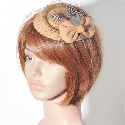 Party women lady fascinator feather bow pillbox hat hair clip accessory handmade