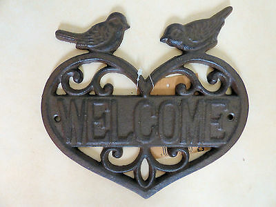 Large Shabby Chic Cast Iron Welcome Bird Heart Wall Plaque Rustic Garden Sign