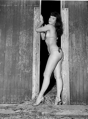 1960s Bettie Page Wearing little Posing at barn door 8 x10 Photograph