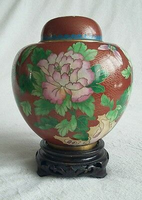 Antique Chinese Cloisonné Pot with Stand. Zi Jin Cheng. Forbidden City. Flowers
