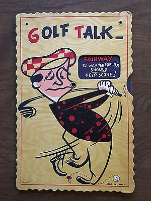 Vintage Mid-Century Golf Card Decoration With 6 Movable Humorous Windows