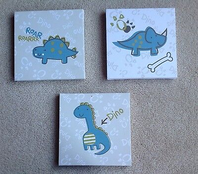 3 x Dinosaur Canvas Pictures Size 17cm x 17cm Child's Bedroom or Playroom