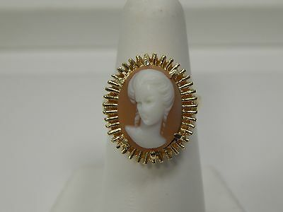 14K Yellow Gold Vintage Inspired Cameo Fashion Ring