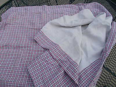 19th C. Homespun Linen Bed Cover / Duvet / Red, White, Blue / Signed / AAFA / NR