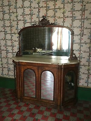 Victorian Walnut Credenza With Mirror And Marble Top