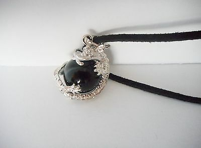 black Agate gemstone crystal healing dragon totem pendant necklace gift bag