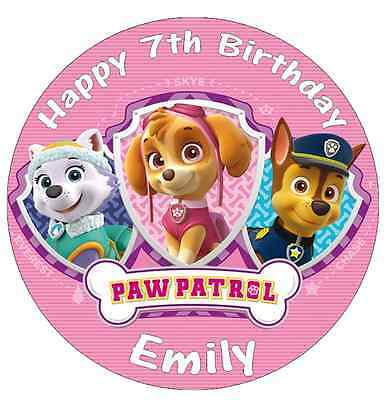 """Paw Patrol Skye Everest Chase Personalised Cake Topper Edible Wafer Paper 7.5"""""""
