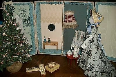 Ooak French Fashion Presentation Box W/ Clothes And Accessories For 12 In Doll