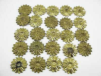 "Vintage Solid Brass Sunflowers 1-1/4"" Lot Of 24"