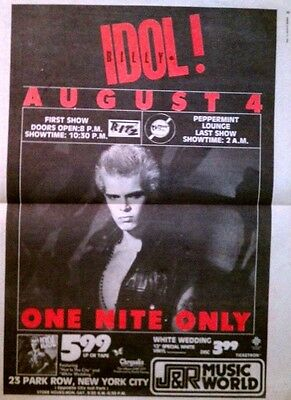 """BILLY IDOL rare orig 1982 full page NYC concert print ad """"White Wedding Tour"""""""