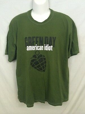 Green Day Classic American Idiot Shirt Army Green Mens XL Heart Grenade Music