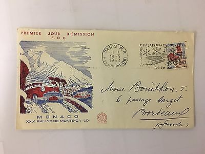 monaco postage stamp monte carlo rally first day cover 1962