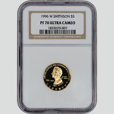1996-W PF70 UCAM Gold $5 Smithsonian Institution Commemorative Proof - NGC
