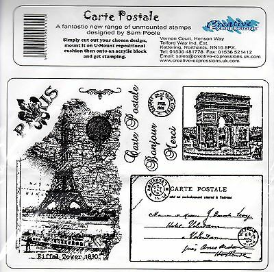 Creative Expressions 'CARTE POSTALE' Rubber stamp set 10 STAMPS