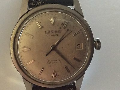 Vintage Lusina Geneve Mens Swiss Automatic 21-Jewel Watch w/ Date ,Leather Strap