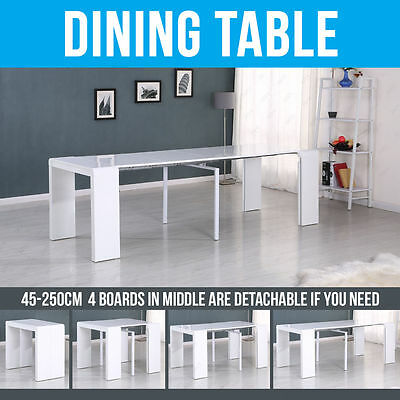 45-250cm Extending High Gloss Dining Table to Console Dining Room Kitchen White