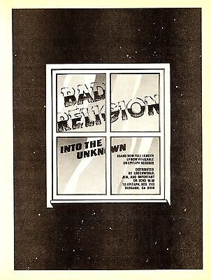 "BAD RELIGION rare 1983 ""Into The Unknown"" full page print ad, original, PUNK, HC"