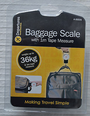 36kg Luggage Scales aeroplane hold baggage analogue 1m tape measure airplane new