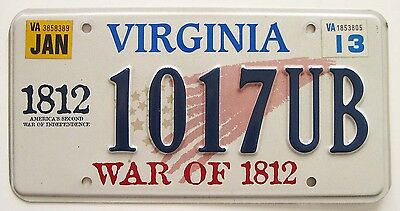 """Virginia 2013 """"War of 1812"""" License Plate, 1017 UB, Specialty Optional Graphics"""