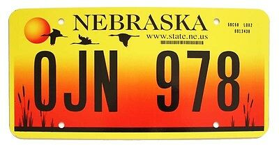 "Colorful Nebraska ""Sandhill Cranes"" 2005 License Plate OJN 978 in Mint Condition"