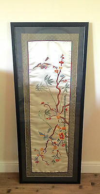 Chinese Embroidered Silk Oriental Design Very Large Framed Vintage