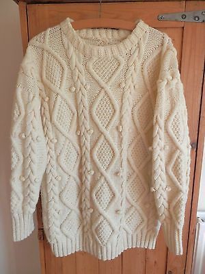 Hand Knitted Pure New Wool ARAN Cable Chunky Knit Jumper Size Med/Large