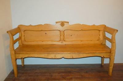 Antique Pine Settle / Rustic Country Bench / Pew Seat 1880