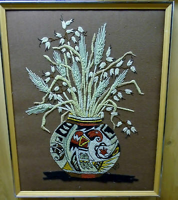 Fabulous First Nations Needle Embroidery Still Life Art Framed Signed