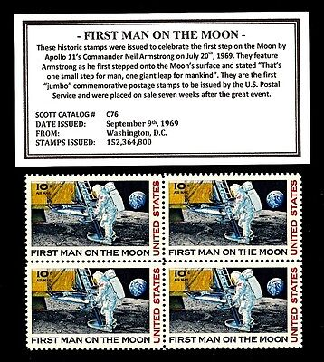 1969 - FIRST MAN ON THE MOON – Mint  Block of Four Vintage Postage Stamps