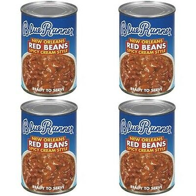4 CANS SPICY CREAM STYLE BLUE RUNNER RED BEANS free New Orleans recipe 16 oz