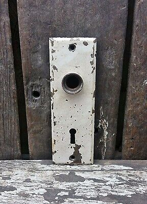 VTG Old SMALL Plain SHABBY Metal Keyhole Door Knob Backplate Hardware Cover