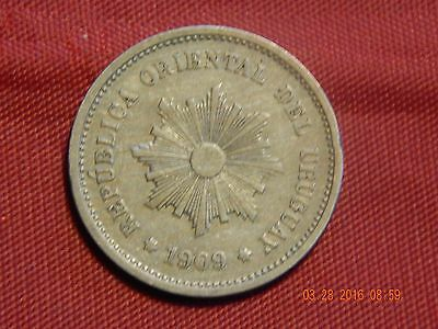 1909-A Uruguay 5 centavos VF+ coin 107 years old.