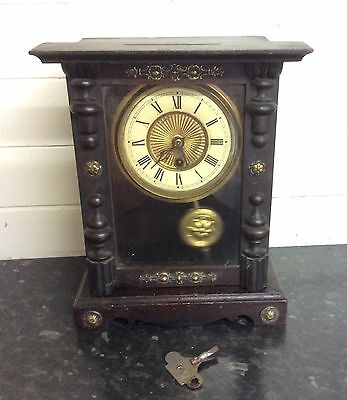 Antique American Shelf Clock With Metal Decoration
