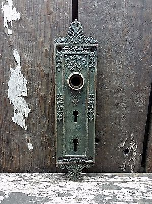 VTG Old FANCY R&E Cast BRASS Victorian DOUBLE Keyhole Door Knob Backplate 8 3/4""