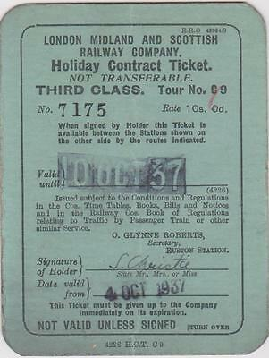 London Midland & Scottish Railway Holiday Contract Ticket - Lms Cr Br - Scotland