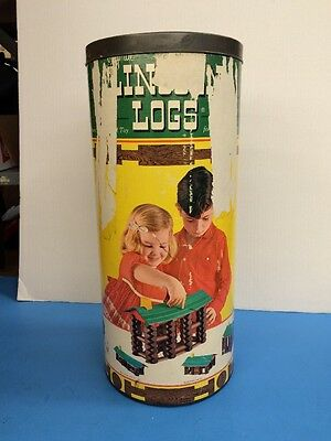 Vintage set of Lincoln Logs 3C with metal Lid RARE (C30)