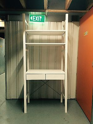 IKEA Ivar Shelving 2 sections, shelves, drawers, painted White